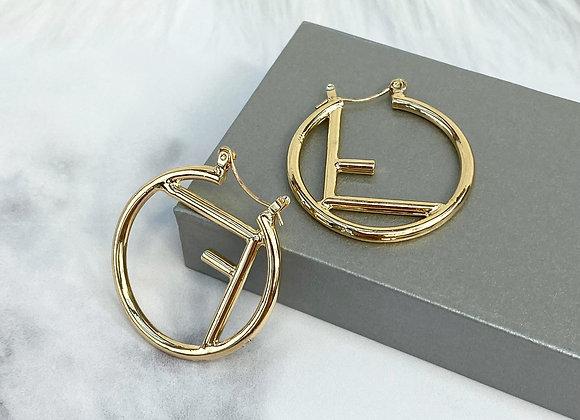 Mini F Gold Hoop Earrings