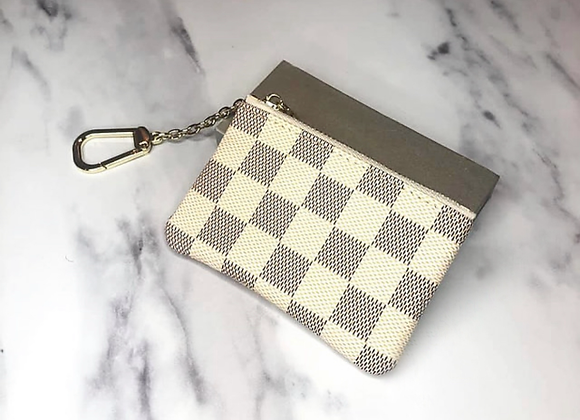 White Check Keyring Pouch