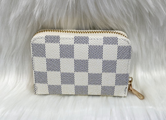White Check Card Wallet