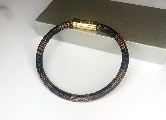 Brown Checked Magnetic Bracelet