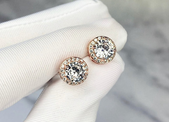 Sterling Silver Rose Gold Round Studs