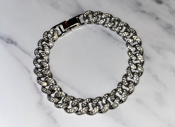 Cuban Chain Silver Stone Detail Anklet
