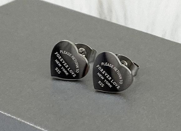 Silver Forever Love Stud Earrings
