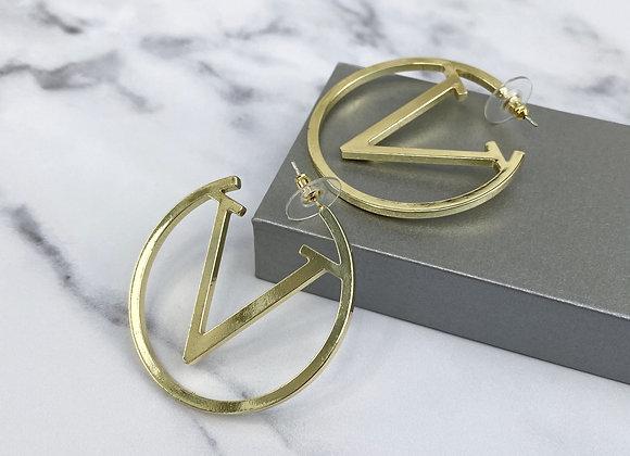Gold V Hoop