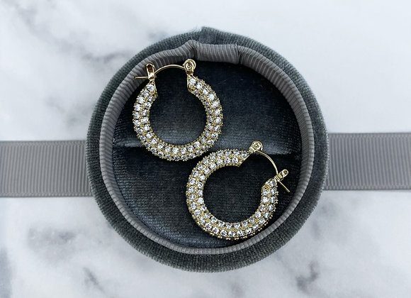 Round Gold Stone Hoops