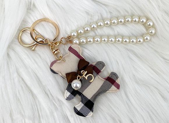 Check & Pearl Bear Keyring