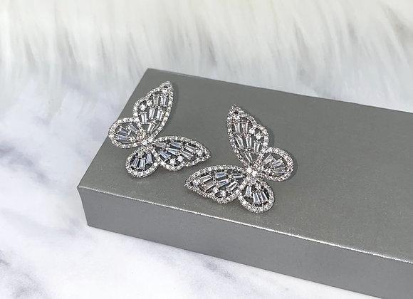 Oversized Silver Butterfly Earrings