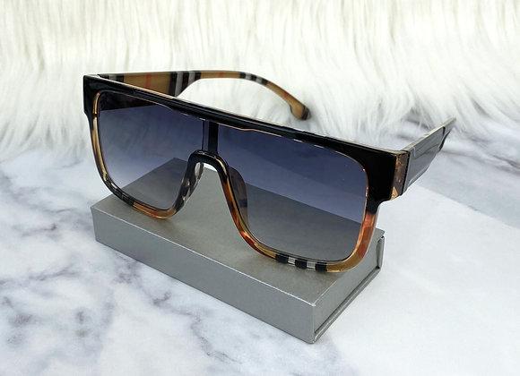 Navy Check Oversized Sunglasses