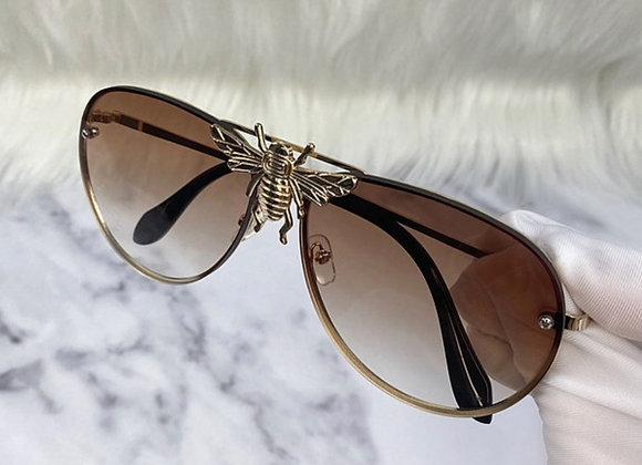 Brown Large Bug Aviator Sunglasses