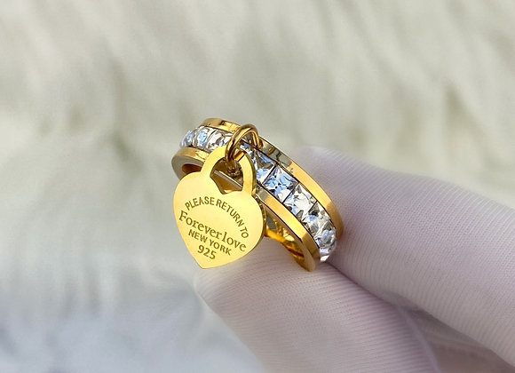 Gold Stone 'Forever Love' Charm Ring