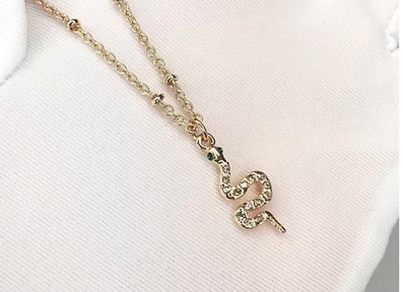 Gold Diamante Snake Necklace