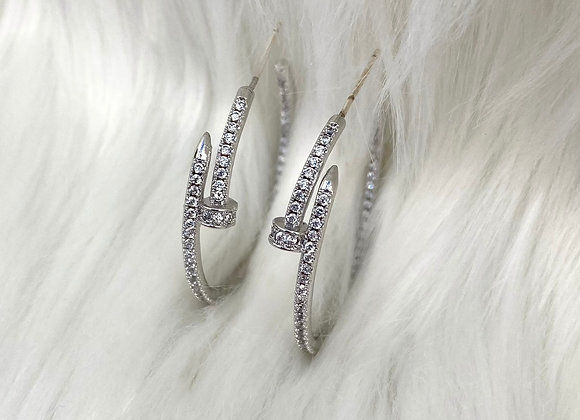 Silver Plated Nail Hoop Earrings
