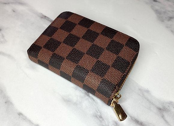 Brown Check Card Wallet