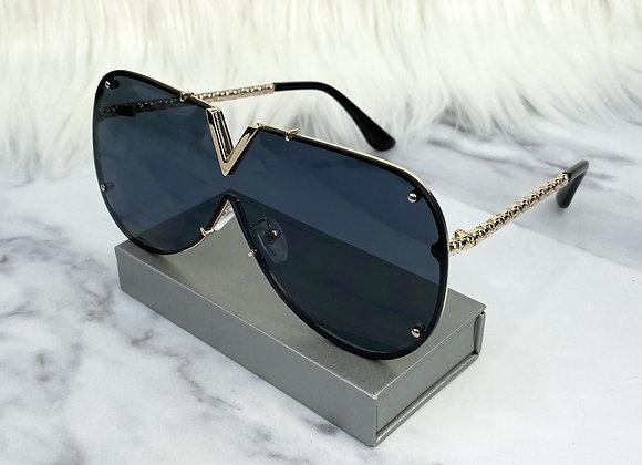 Black Frameless V Sunglasses