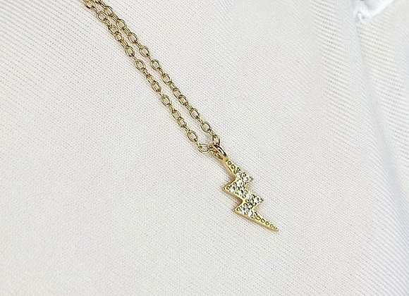 Sterling Silver Mini Lightening Gold Necklace