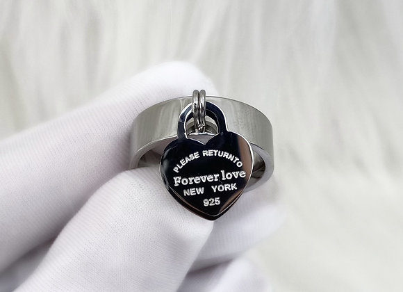 Silver 'Forever Love' Charm Ring