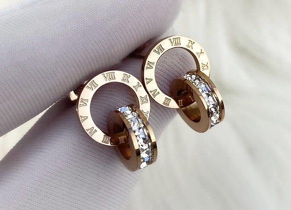 Rose Gold Numeral Earrings