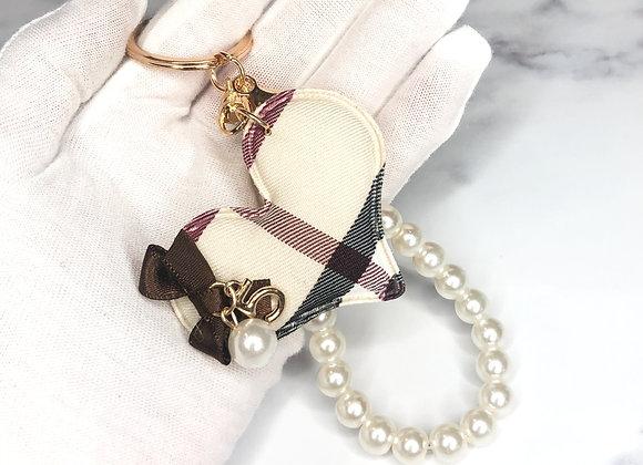 Check & Pearl Heart Keyring