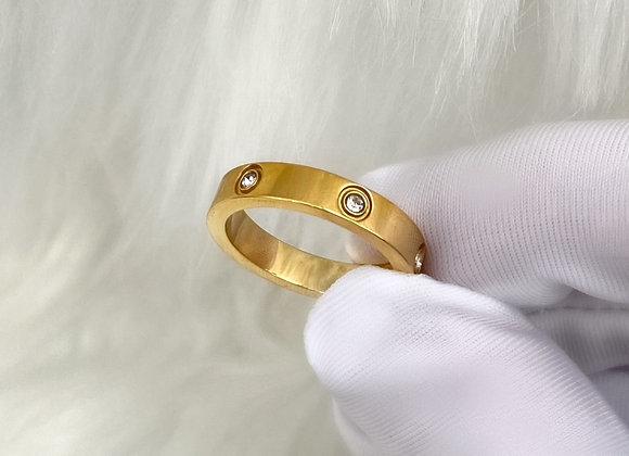 Gold Diamante Ring 4mm