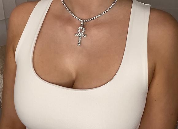 ICE Silver Cross Chain