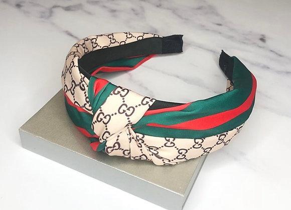 Knot Beige Printed Headband