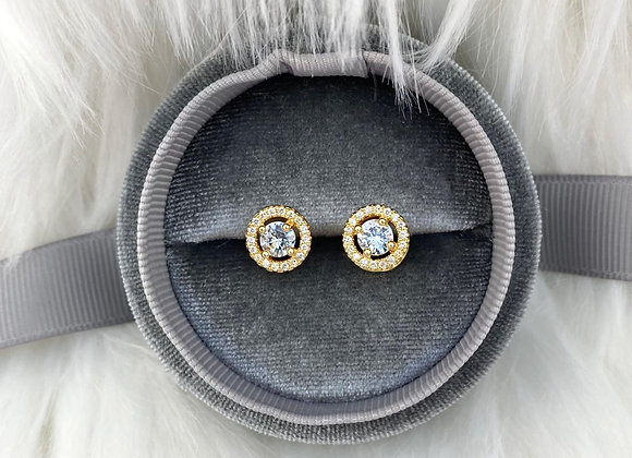 Gold Sterling Silver Round Raised Studs