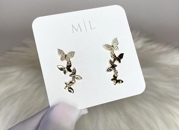 Multi Butterfly Drop Earring