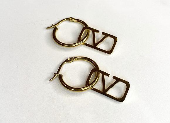 V Gold Drop Down Earrings