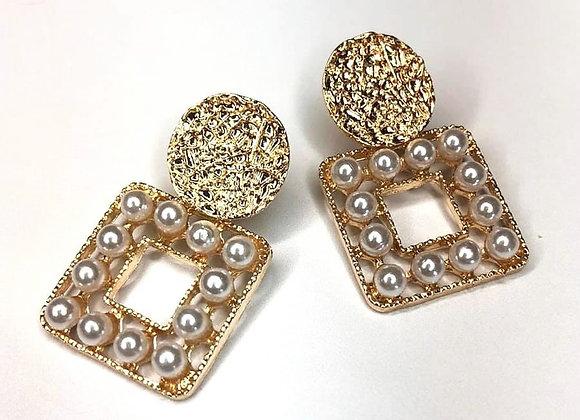 Square Pearl Knocker Earrings