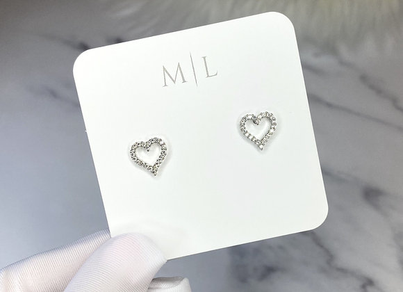 Silver Diamante Heart Studs