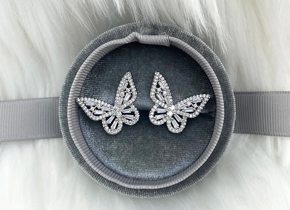 Silver Sparkle Butterfly Earrings