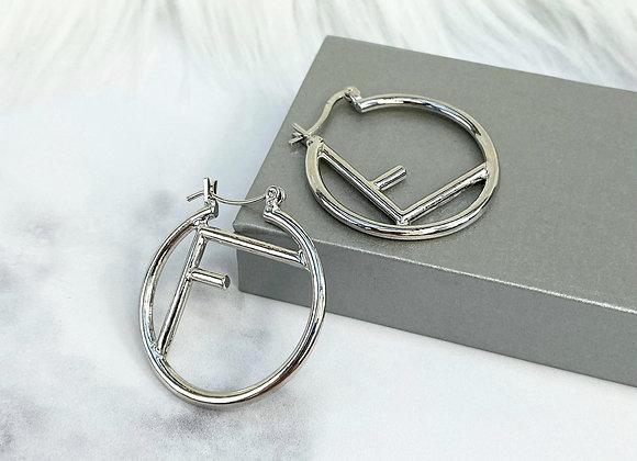 Mini F Silver Hoop Earrings