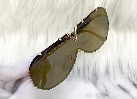 Gold Mirrored V Sunglasses