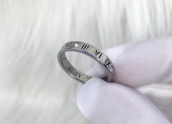 Numeral Diamante Silver Ring