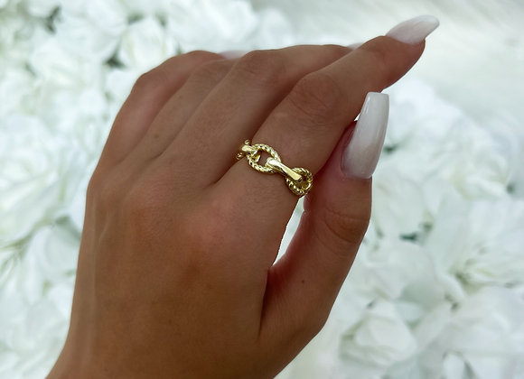 Rope Gold Link Ring