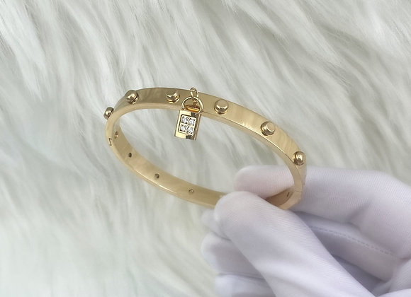 Gold Plated Padlock Bangle