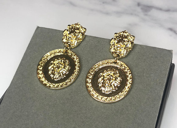 Lion Medusa Knocker Earrings