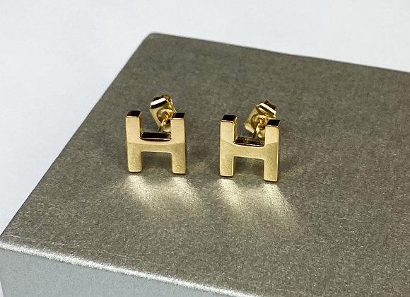 Gold H Initial Studs