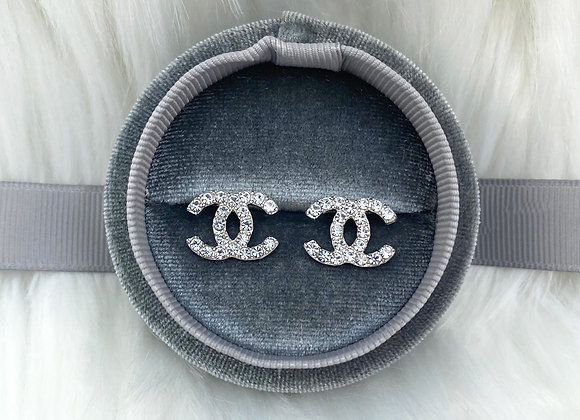 Silver Diamante C Studs