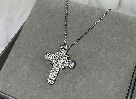 Silver Shine Cross Necklace