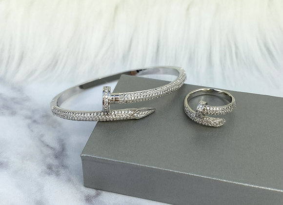 Silver Nail Sparkle Bangle & Ring Set