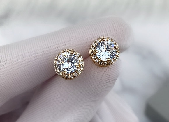 Sterling Silver Gold Round Studs