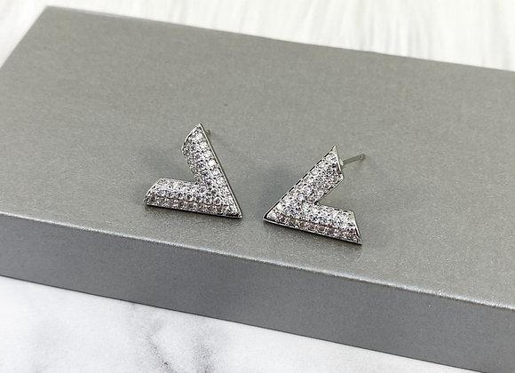 Silver Sparkle V Studs