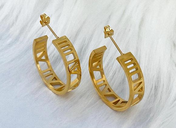 Gold Numeral Hoop Earrings
