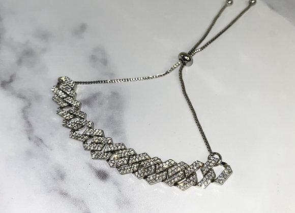 Silver Link Diamante Anklet