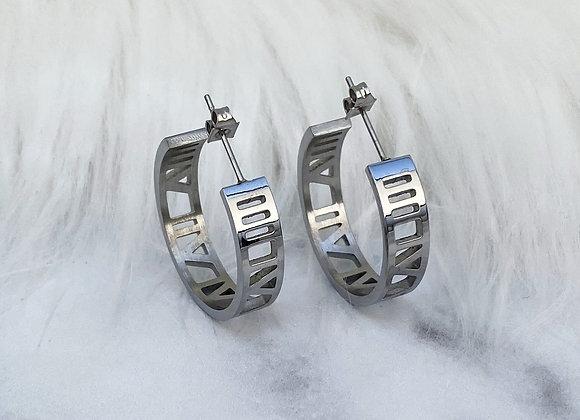 Silver Numeral Hoop Earrings
