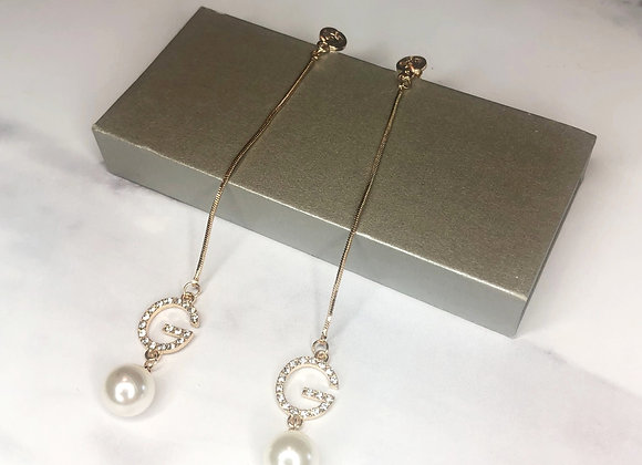G Pearl Drop Down Earrings