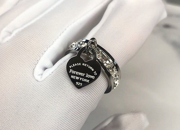 Silver Stone 'Forever Love' Charm Ring