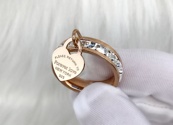 Rose Gold Stone 'Forever Love' Charm Ring