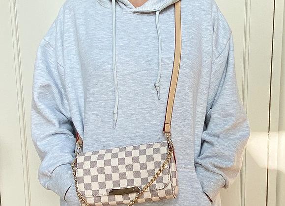White Check Cross Body Bag